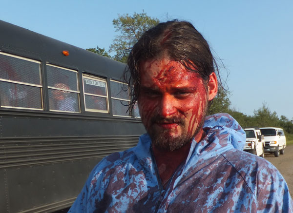 Brandon covered in blood
