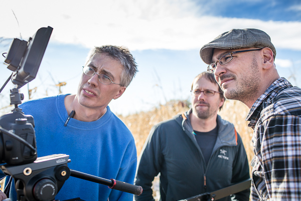 The main collaborators behind Sophia, on set. Left to right: camera afficianado/producer Cam Belseth, writer/director Rory Mells, director of photography Chris Beauchamp. Photo by Laura Beauchamp.
